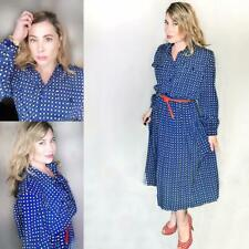 Vintage Retro 1980's Leslie Fay Blue Black White Polka Dot Pleated Day Dress