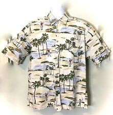 Mens Tan Campia Hawaiian Golf Palm Trees Beach Casual Cotton Camp Shirt SZ L