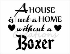 """""""BOXER HOME"""" House Dog Breed Family 8.5"""" x 11"""" Stencil Plastic Sheet NEW S278"""