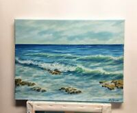 "Art 16""/12"" oil painting, ocean, seascape, beach waves,ocean scape, landscape,"