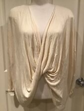 Forever 21 Sz XS Ivory Off White Loose Crop Front Low Neck Pullover Sweater NWT
