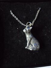 """French Bulldog Dog tg8 Fine English Pewter On a 16"""" Silver Plated Curb Necklace"""