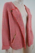 JAEGER LONDON Women's Cream & Orange Tweed Texture Knitwear Cardigan Jacket XL
