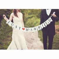 JUST MARRIED Wedding Party Banner Decorations Bunting Garland Photo Party Signs