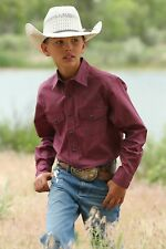 Cinch Boy's Red White & Blue Geometric Print Snap Up Western Shirt MTW7020068