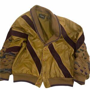 SAXONY Vintage Tan & Burgundy Button Up Jacket 1980s Leather Size L Coogi Style