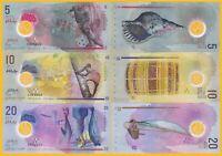 Maldives Set 5, 10, 20 Rufiyaa 2015-2017 UNC Polymer Banknotes