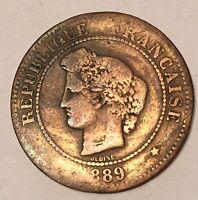 5 Centimes Cérès Bronze 1889A N2
