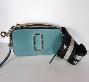 New Marc Jacobs Snapshot Camera Crossbody Bag Blue Pink Silver Star Strap 483013