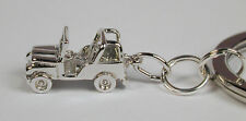 Sterling Silver Jeep Wrangler Charm w/ Stainless Steel Key Ring Free U.S. Ship