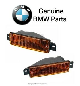For BMW E30 3-Series Pair Set of Two Front Turn Signal Light w/Yellow Lenses OES