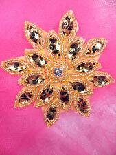"JB219 Gold Leopard Snowflake Applique Jewel Beaded 3"""