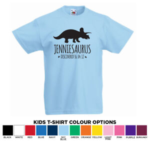 Personalised Triceratops Dinosaur Name Kids tshirt T-Shirt Age 1-13 Add Any Name