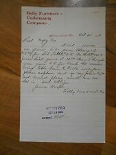 Antique 1903 Kelly Furniture & Undertaking Company Stevens Point Wisconsin Paper