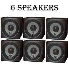 LOT OF (6) NEW Pyle PCB3BK 100W 3'' Mini Cube Bookshelf Speakers (BLACK)