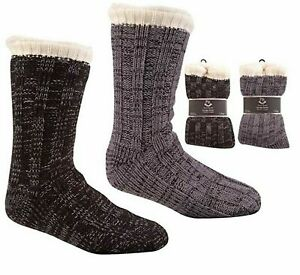 Men's Gents Knitted Chunky Lounge Slipper Cosy Non Skid Gripper Socks Size 6-11