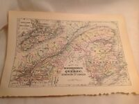 Antique Map Vintage New Brunswick and Quebec of the dominion of Canada cartograp