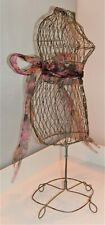 Vintage Wire Metal Dress Form Mannequin Table Top Decorative Holder 15�