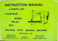 Complete THOMPSON Sewing Machine PW-301 MANUAL pdf File on CD