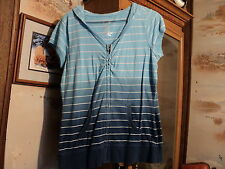 Maurices blue shaded striped hooded zip up front short sleeve top Size Medium
