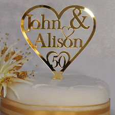 50th Golden Wedding Anniversary Cake Toppers Gold Heart 2 Personalised Two Name