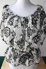 GUESS BLACK FLORAL SHEERED TEE TOP BLOUSE SIZE MEDIUM NEW WITH TAG