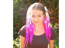 Blonde and cyber pink taper transitional dreads - Double ended wool dreadlocks