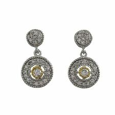 Two Tone Sterling Silver CZ Medallion Teens Womens Dangle Earrings