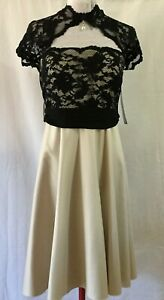 NWT Gerry Shaw Women's champagne Satin/Black Lace Formal/Bridesmaid Dress S 10
