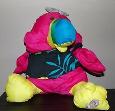 Vintage  1987 Fisher Price Puffalump Pink Bird Toucan Plush  Hawaiian 17""