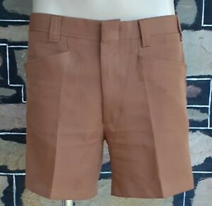 """1970's Woven polyester shorts, tan, by 'Standex', size 33"""""""