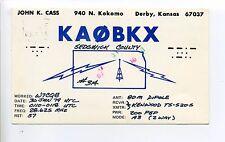 Derby Kansas KS (Sedgwick Co) John Cass, vintage amateur radio postcard, 1970's