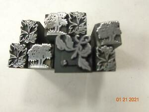 Printing Letterpress Printer Block Antique Trees & Leaf Ornament Dingbats