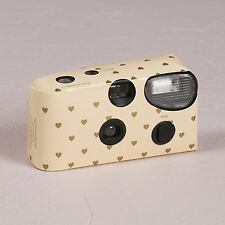 Disposable Cameras Ivory with Gold Hearts Party Accessory 10 Pack