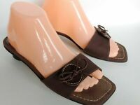 Stuart Weitzman Brown Open Toe Mules Slip On Sandals Women's Size 8 M Spain