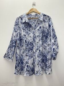 Damart Blue & White Womens Floral Button-up Long-sleeved Shirt Size 26 #16