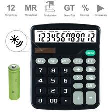 Solar Desktop Calculator 12-Digit Basic Business Home Standard Large Display