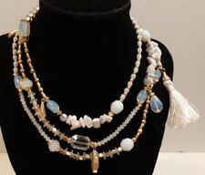 """Mixed material Sara Bella Necklace White Gold iridescent color bead necklace 48"""""""