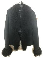 Black Suede And Mongolian Fur Penny Lane Afghan Coat Size 10