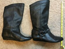 "Gianni Bini Women's Black Leather Pointy Toe Pull On 14"" Boots 8M"