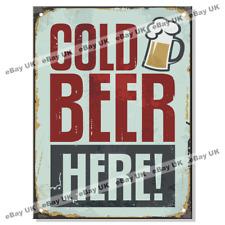 COLD BEER HERE Metal Tin Retro Sign Garage Garden Shed Bar Pub Beer Larger