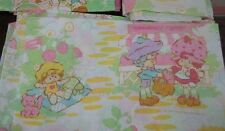 Vintage Strawberry Shortcake Cartoon Character Twin Flat Bed Sheet {Fabric}