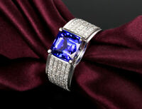 5Ct Princess Cut Tanzanite Diamond Accent Engagement Ring 14K White Gold Finish