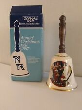 Vintage 1987 Norman Rockwell Gorham Fine China Christmas Collectible Bell W/Box