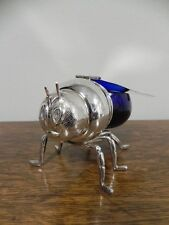 Novelty Honey bee shape dish with flip up wings & blue glass dish