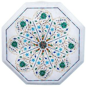 Unique Design Inlaid Coffee Table Top Marble Side Table Floral Design 14 Inches