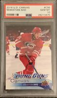 2016 2017 Sebastian Aho PSA 10 UPPER DECK CANVAS YOUNG GUNS ROOKIE CARD RC #C96