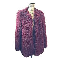 Fashion Nova Women's Shaggy Coat Size XS Fuzzy Faux Fur Jacket Burgundy