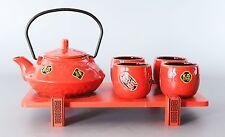 Asiatisches Teeservice / Teeset 6-tlg. in rot 700ml mit Serviertablett m.hoch