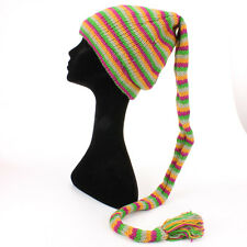 WOOL KNIT TAIL HAT HIPPY FESTIVAL SLOUCH BEANIE FLEECE LINED Pink, Green, Yellow